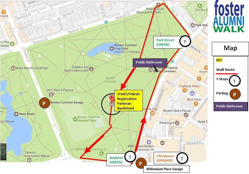 Foster Alumni Walk - Boston common map